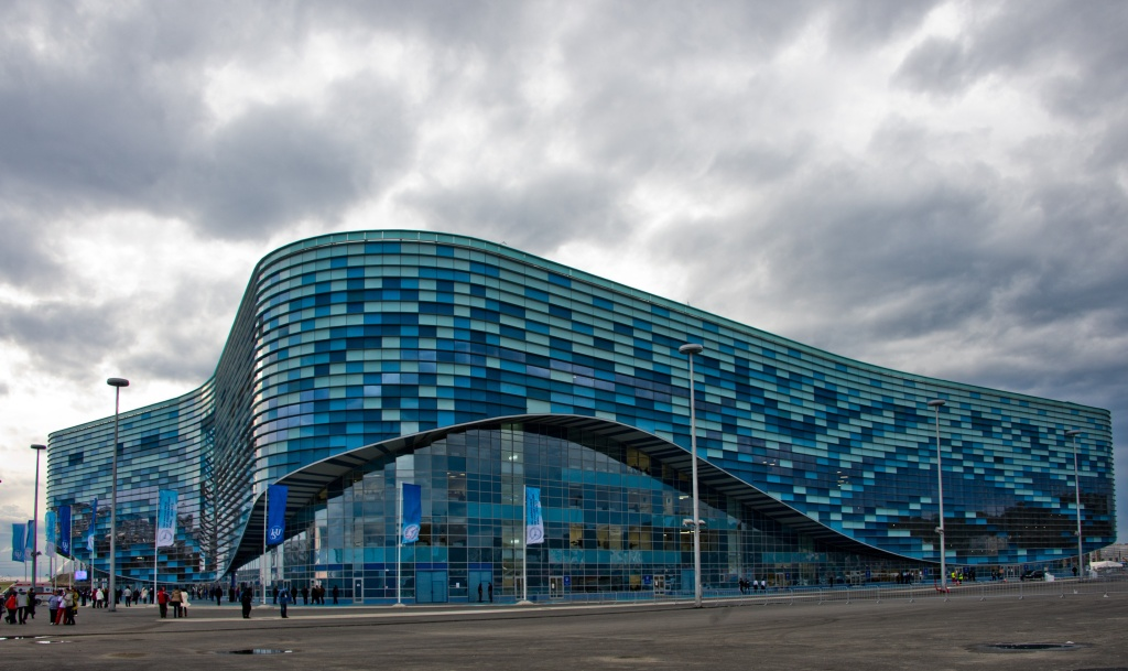 The newly constructed Iceberg skating palace, which will host the short track speed skating and figure skating events in Sochi, part of the coastal cluster for the upcoming 2014 winter olympics.