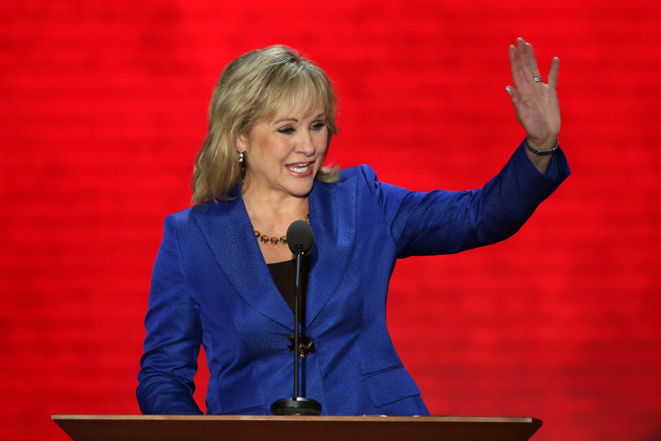 Oklahoma Gov. Mary Fallin waves as she walks on stage during the Republican National Convention at the Tampa Bay Times Forum on August 28, 2012 in Tampa, Florida.