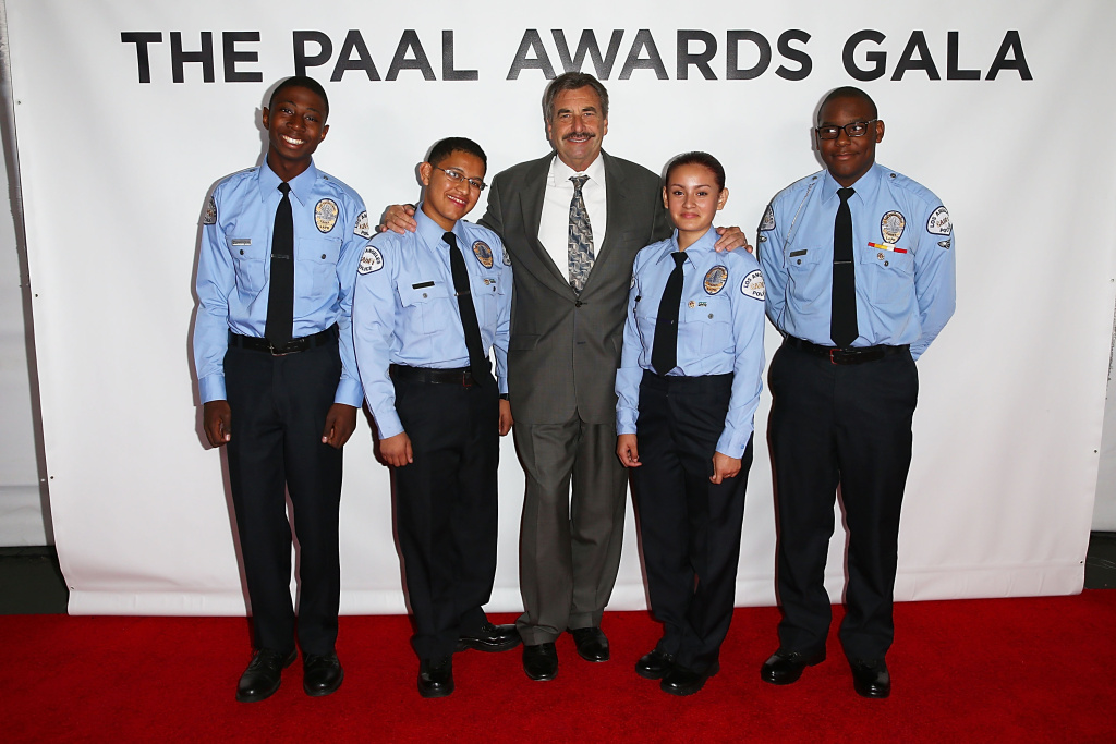Police Chief Charlie Beck attends with some cadets the 2013 LAPD South Los Angeles PAAL Awards Gala.