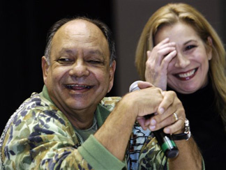 Actor-comedian Cheech Marin joins Cheryl Shuman, executive director of NORML90210, the Beverly Hills chapter of the National Organization for the Reform of Marijuana Laws, at a news conference for HemCon at the Los Angeles Convention Center Thursday, Feb. 18, 2010.