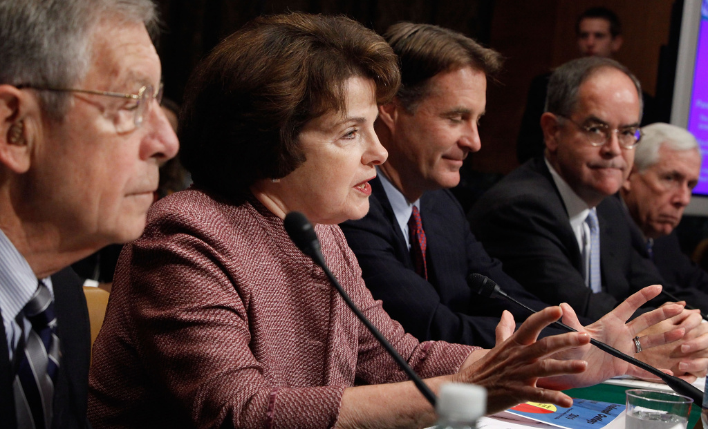 Sen. Dianne Feinstein testifies before the Senate Budget Committee. Feinstein announced Wednesday that she's re-entering the battle over gun control during her keynote speech to the DNC's California delegates.