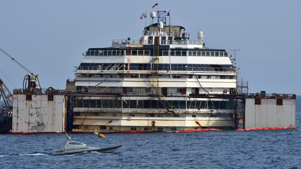 The process of refloating the Costa Concordia cruise ship started off Italy's Giglio Island Tuesday.