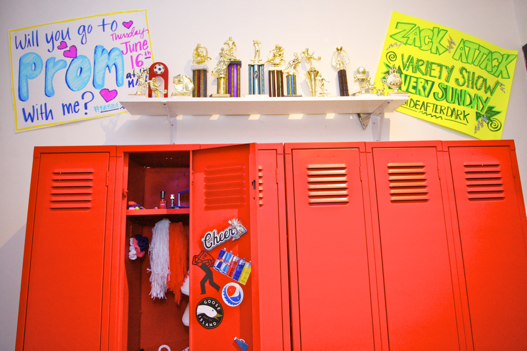 A replica of the show's locker room features memorabilia from the show.