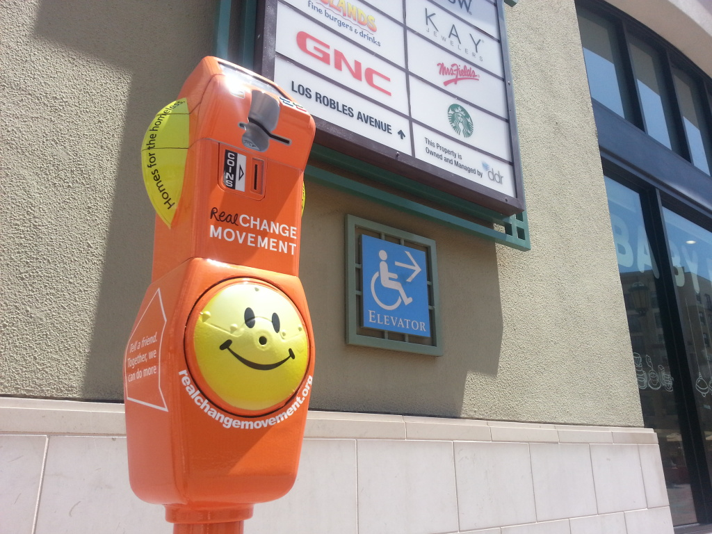 A shot of the donation meter at Paseo Mall in Pasadena. The new meters accept change and credit card donations that will go to services that help the homeless.