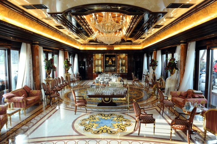 Photo shows a view of the interior of the Mezhyhirya, the private residence of ousted Ukrainian President Viktor Yanukovych, near Kiev on February 24, 2014. Ukraine issued an arrest warrant on February 24 for ousted president Viktor Yanukovych over the 'mass murder' of protesters and appealed for $35 billion in Western aid to pull the crisis-hit country from the brink of economic collapse. The dramatic announcements by the ex-Soviet nation's new Western-leaning team -- approved by parliament over a chaotic weekend that saw the pro-Russian leader go into hiding -- came as a top EU envoy arrived in Kiev to buttress its sudden tilt away from Moscow.