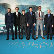 "Joseph Mawle, Edward Ashley, Tom Holland, Ben Walker, Chris Hemsworth, Ron Howard, Charlotte Riley, James Sives and Cillian Murphy attend the Red Carpet Arrivals for the European Film Premiere of ""In The Heart Of The Sea."""