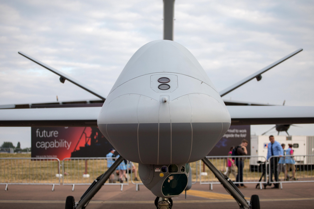 A general Atomics Aeronautical Systems Inc SkyGuardian remotely piloted aircraft that has arrived at RAF Fairford after completing the first transatlantic flight for such an aircraft is pictured, on July 11, 2018 in Gloucestershire, England.
