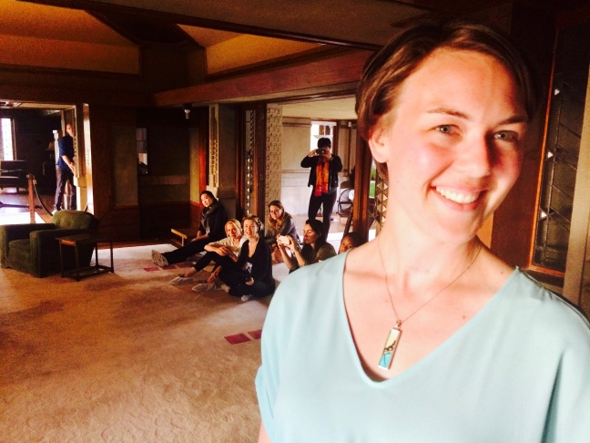 "Director Kate Jopson with the cast of ""Fefu & Her Friends"" inside Frank Lloyd Wright's Hollyhock House."
