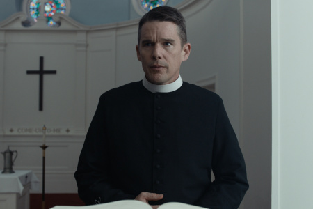 "Ethan Hawke in the film ""First Reformed."""