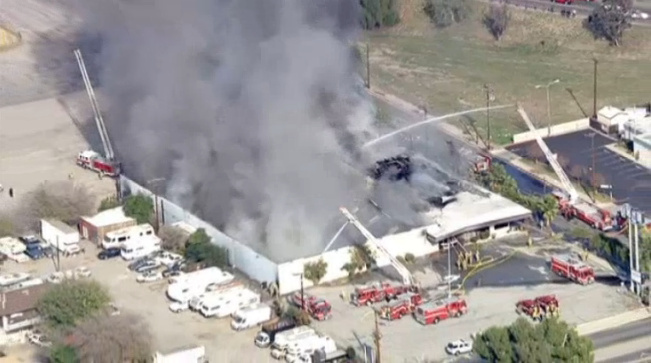A fire burned at a San Bernardino bowling alley Tuesday.