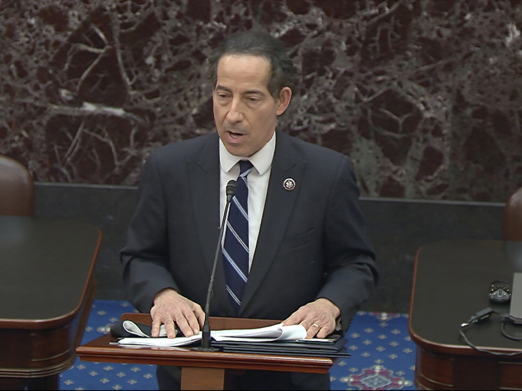 Lead impeachment manager Rep. Jamie Raskin, D-Md., reads the article of impeachment Monday against former President Donald Trump on the Senate floor.