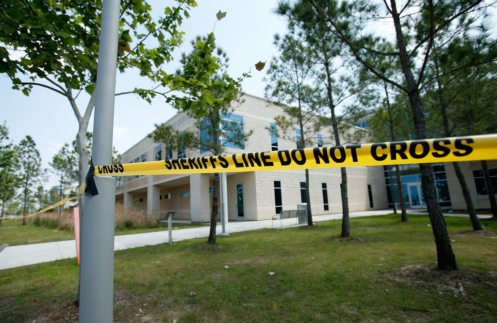 CYPRESS, TX - APRIL 09:  Police tape seals off an area after at least 14 people were injured in a stabbing incident at the Cy-Fair campus of Lone Star College on April 9, 2013 in Cypress, Texas. The community college located in northwest Houston was on lockdown until police detained a 21-year-old male student believed to be a suspect.  (Photo by Scott Halleran/Getty Images)