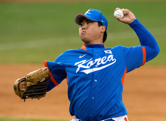 South Korea's starting pitcher Ryu Hyun-
