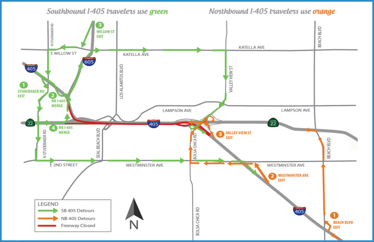 Portions of the 405 freeway will be closed this weekend. This map shows the closures and available detours.