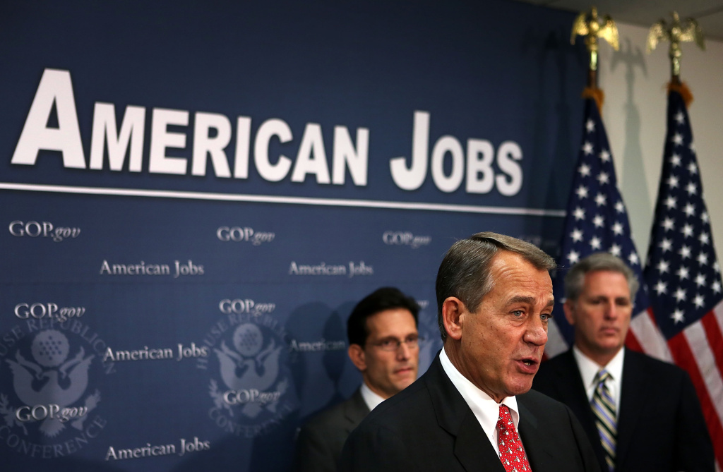 U.S. Speaker of the House Rep. John Boehner (R-OH) (2nd L) speaks as House Majority Leader Rep. Eric Cantor (R-VA) (L) and House Majority Whip Rep. Kevin McCarthy (R-CA) (R) talk about the fiscal cliff. Senator Harry Reid Thursday said it appears the U.S. is headed over the fiscal cliff.  (Photo by Alex Wong/Getty Images)
