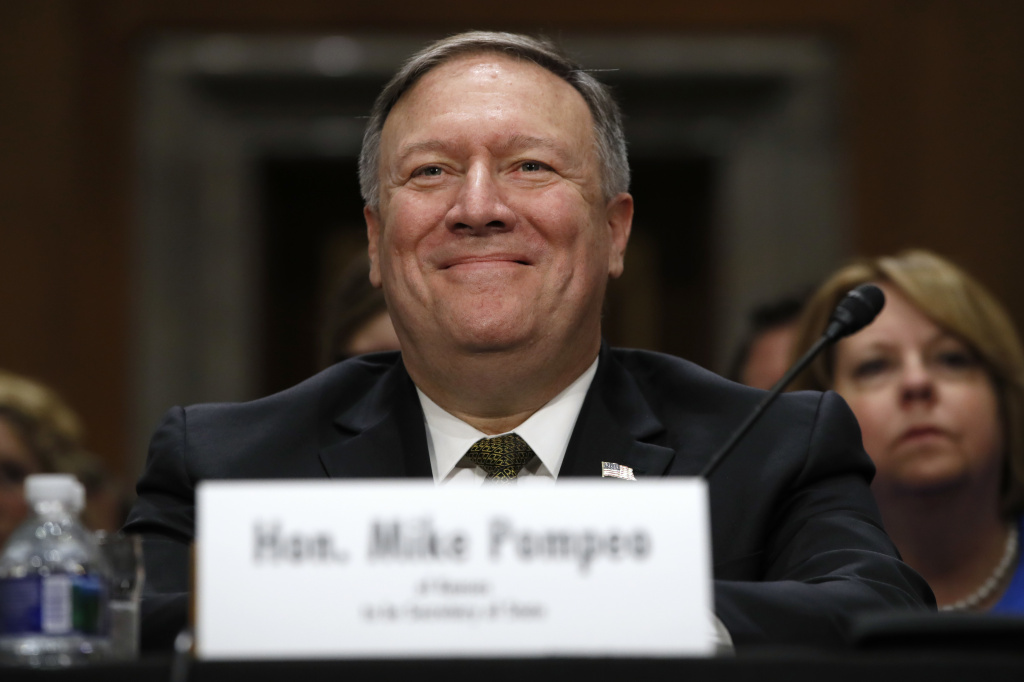 Secretary of State-designate Mike Pompeo smiles after his introduction before the Senate Foreign Relations Committee during a confirmation on April 12, 2018 on Capitol Hill in Washington, D.C.