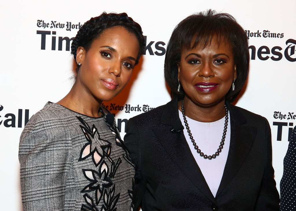 (L-R) Kerry Washington and professor of law at Brandeis University, Anita Hill pose during TimesTalks Presents: Kerry Washington And Anita Hill