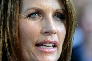 Michele Bachmann speaks at a Tea Party Express Rally at Waterworks Park.