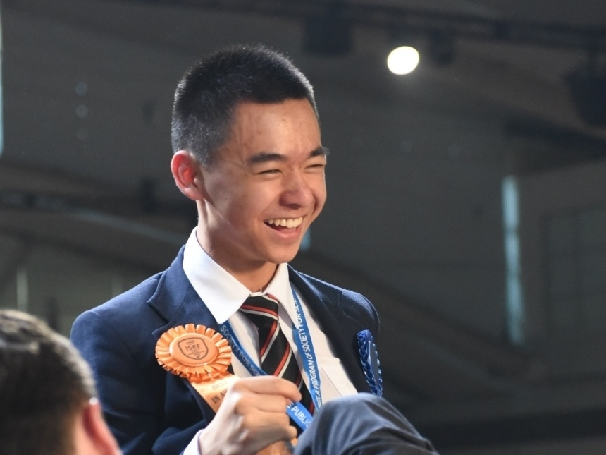 Raymond Wang, 17, of Vancouver, celebrates winning first place at the Intel International Science and Engineering Fair in Pittsburgh, May 15.