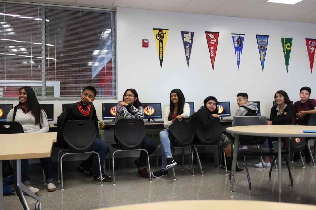 Students listen in a computer lab at L.A. Unified's Fremont High School in South Los Angeles.