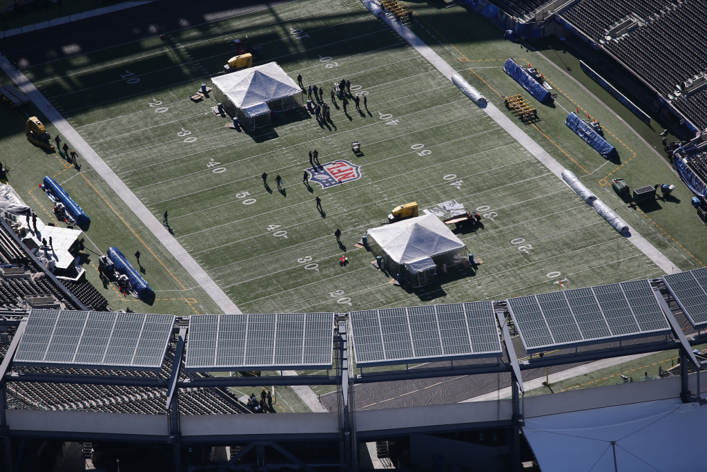 The MetLife Stadium football field is seen from a Customs and Border Protection (CBP), helicopter ahead of Super Bowl XLVIII on January 28, 2014 in East Rutherford, New Jersey. Helicopters flown by