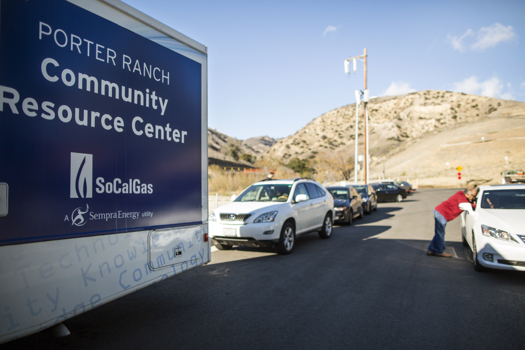 File: SoCal Gas has set up a community resource center on Tampa Avenue near the entrance to their Aliso Canyon Storage Facility near Porter Ranch.