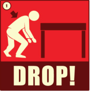 An image showing what to do in an earthquake.