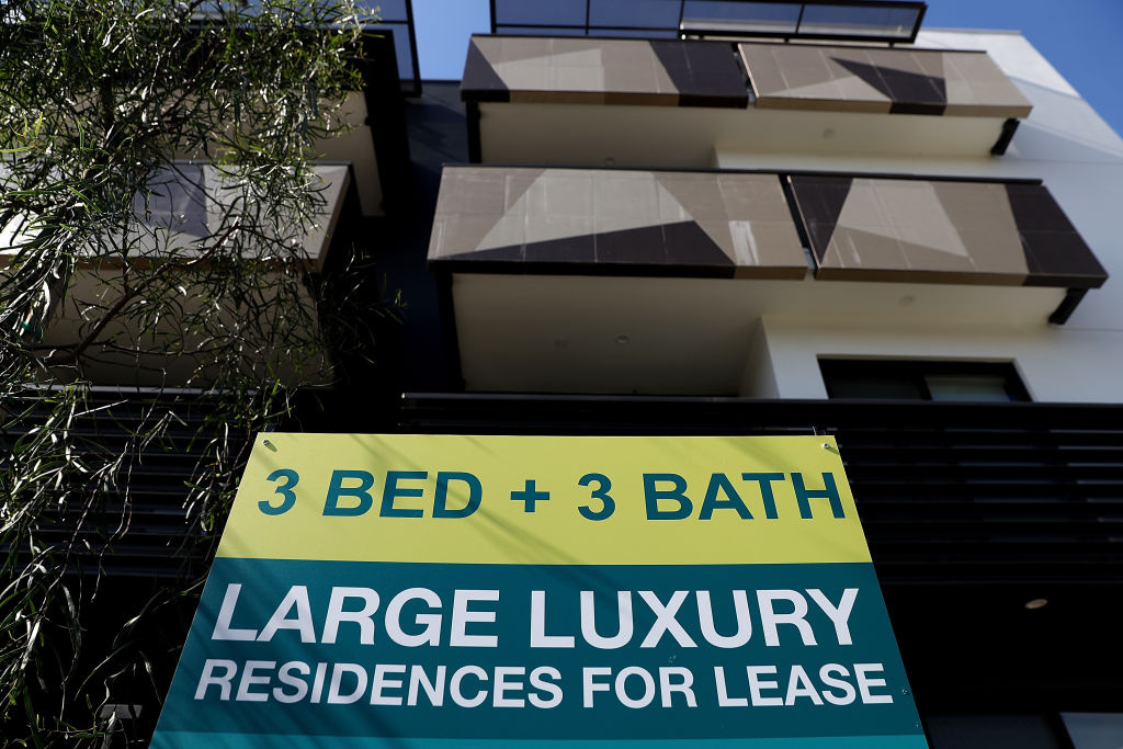 A for lease sign is posted in front of an apartment building on February 1, 2017 in Los Angeles, California.