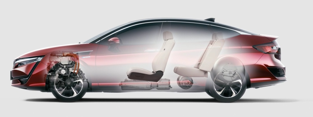 The 2017 Honda Clarity is powered by a hydrogen fuel cell and has a range of over 300 miles.