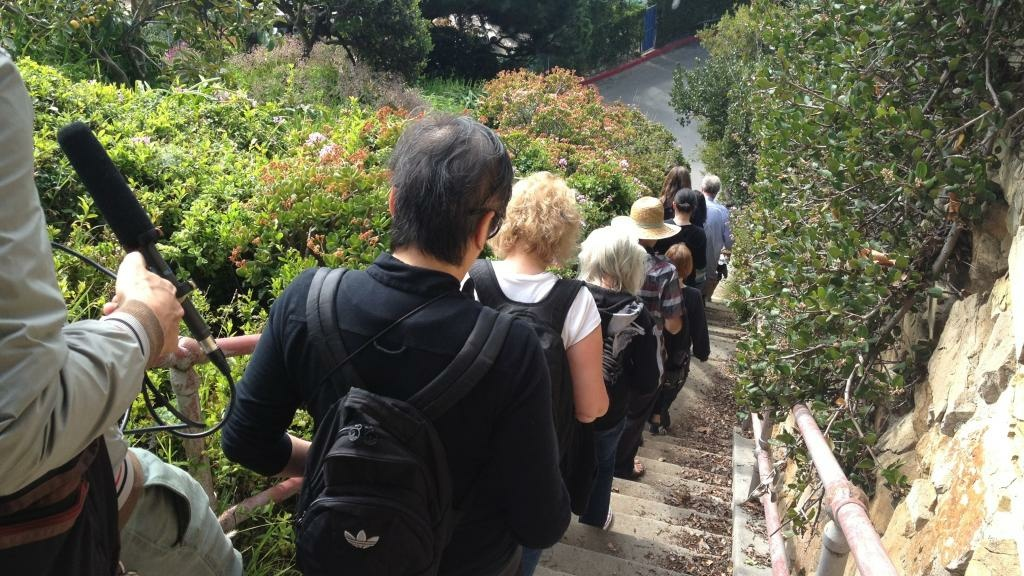 A tour group walks some of LA's secret staircases.