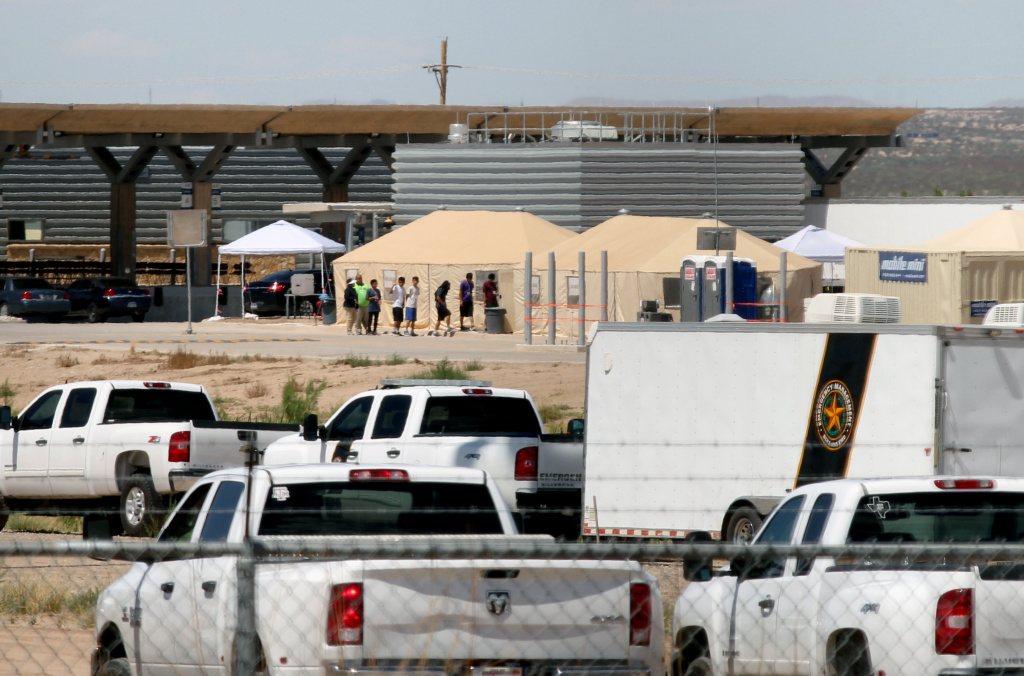 View of a temporary detention center for illegal underage immigrants in Tornillo, Texas, US near the Mexico-US border, as seen from Valle de Juarez, in Chihuahua state, Mexico on June 18, 2018.