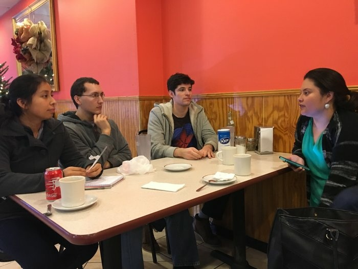 Viridiana Martinez, right, discusses immigration activism in Durham, N.C., with young people hoping to become more involved in helping immigrants in the country illegally.
