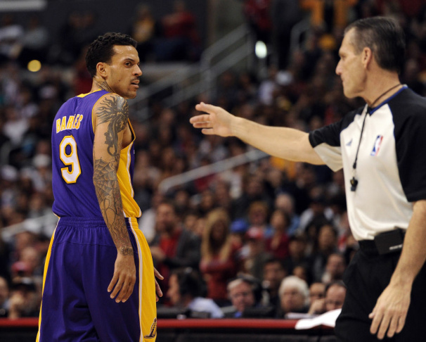 Matt Barnes #9 of the Los Angeles Lakers reacts during the NBA game against the Phoenix Suns at U.S. Airways Center on February 19, 2012 in Phoenix, Arizona. Barnes was released from jail late Monday night, July 30, 2012, after being arrested for allegedly threatening a police officer and driving on a suspended license.