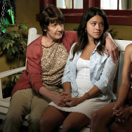 Ivonne Coll, Gina Rodriguez, and Andrea Navedo in Jane The Virgin from The CW.