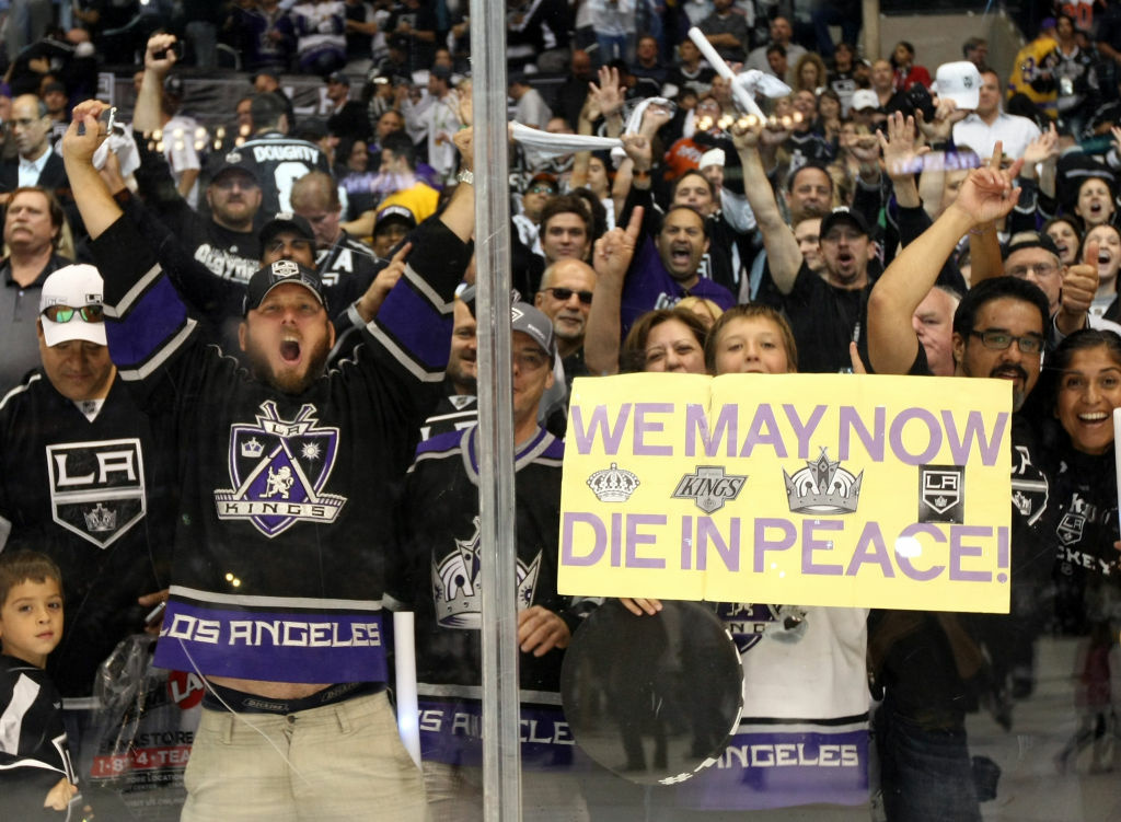 Los Angeles Kings fans celebrate after Game Six of the 2012 Stanley Cup Final at Staples Center on June 11, 2012 in Los Angeles, California. The Kings defeated the Devils 6-1 in Game Six to win the series 4-2.