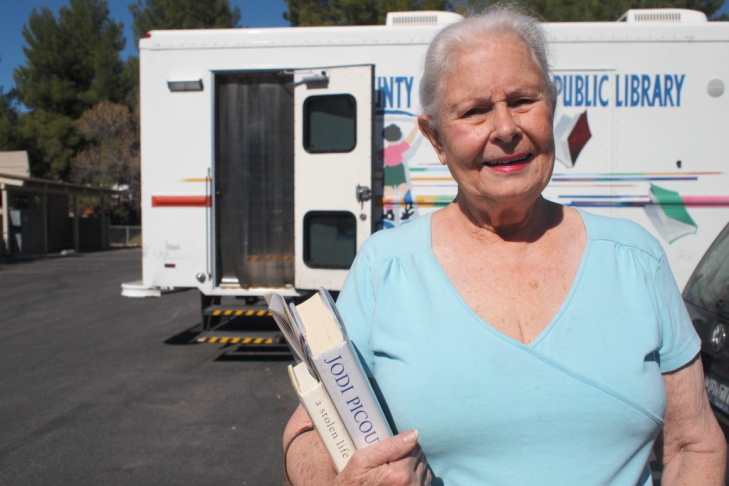 The Las Virgenes Bookmobile parked at Seminole Springs Mobile Home Park in Agoura Hills.