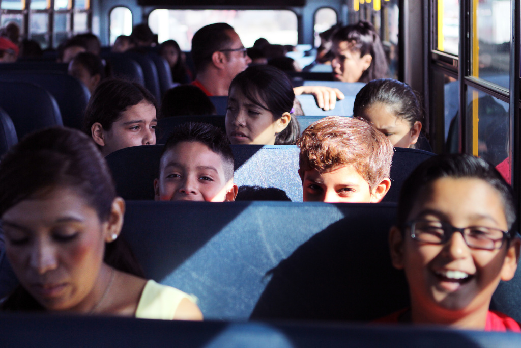 The Museum of Latin American Art's new bus transports students from Anton Elementary School to the museum on Friday morning, Sept. 26.