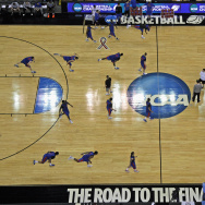 OMAHA, NE - MARCH 15:  The Florida Gators warm up during practice as they prepare to the Virginia Cavaliers in the second round of the NCAA Men's Basketball Tournament at CenturyLink Center on March 15, 2012 in Omaha, Nebraska.  (Photo by Doug Pensinger/Getty Images)