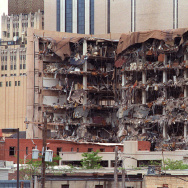 This 19 April 1995 file photo shows the north side of the Albert P. Murrah Federal Building in Oklahoma City and the devastation caused by a fuel and fertilizer truck bomb detonated in front of the building.