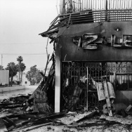 A $2 or Less store, destroyed by fire during the LA Riots of 1992.