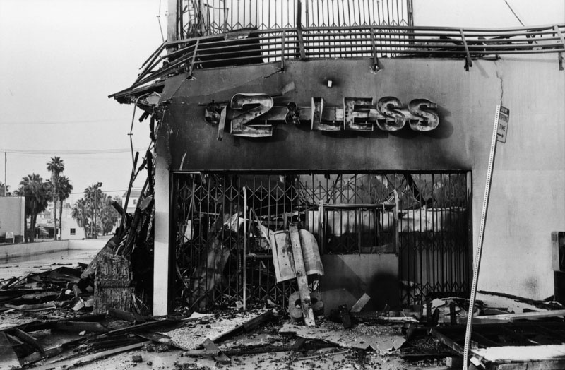 A store destroyed by the 1992 LA Riots. Credit: Gary Leonard/LA Public Library
