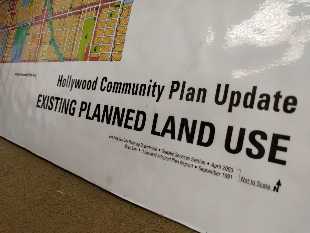 LA city planners must make decisions on projects in Hollywood based off of this zoning map first created in 1988. It has been reprinted throughout the years, but not updated.