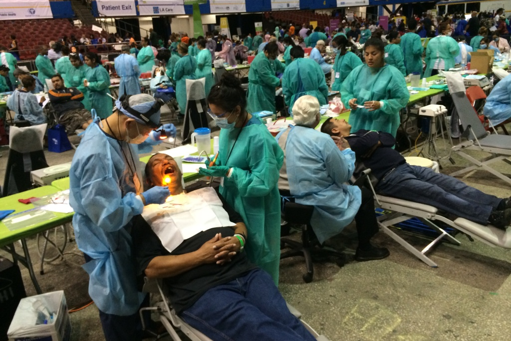 The L.A. Sports Arena hosts the Care Harbor L.A. medical clinic, which provides free dental, vision and preventative care to patients without health insurance.