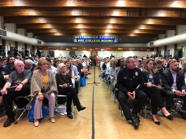 The auditorium at Westminster Elementary School in Venice was packed Wednesday night for a town hall on a proposed emergency shelter a few blocks away.