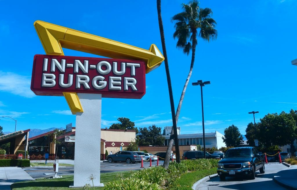 A driver pulls into the drive-thru lane at an In-N-Out Burger restaurant in Alhambra, California on August 30, 2018.