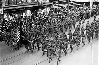 Doughboys march in a 1948 Armistice Day parade through downtown L.A. As the L.A. Public Library caption notes without elaboration: The soldiers were more restrained and orderly than the civilians.
