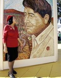 United Farm Workers co-founder Dolores Huerta looks at a mural of the late Cesar Chavez on the San Jose State University campus in San Jose, Calif. on Sept. 4, 2008.