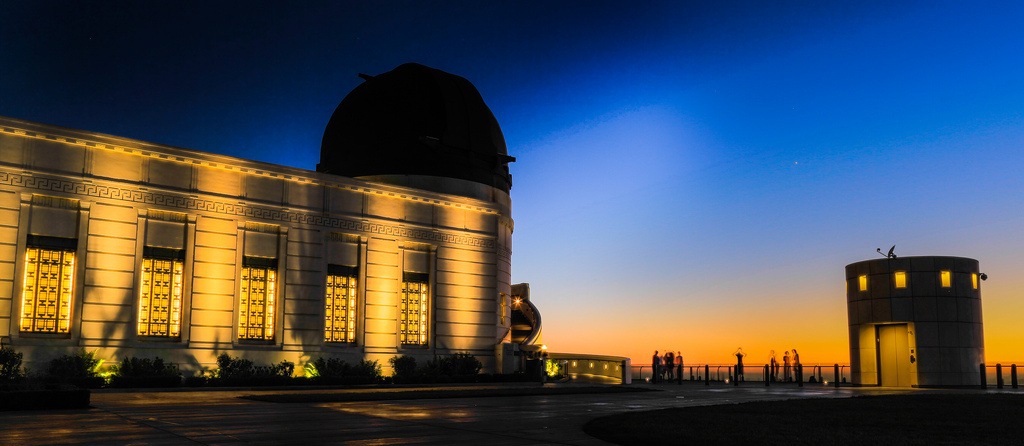 Griffith Observatory at dusk.