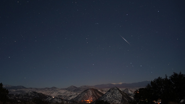 The Quadrantid meteor shower is seen shortly after 5 a.m. on Jan 3, 2013. This year's shower will be helped by a new moon that will keep the night sky dark.