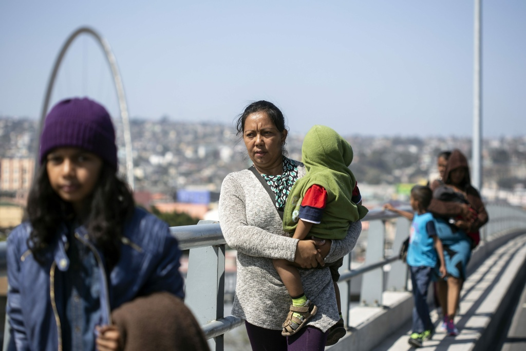 Central American migrants traveling in the